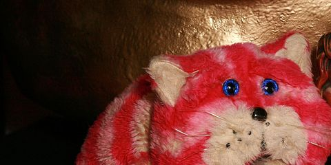 Textile, Red, Toy, Stuffed toy, Carnivore, Carmine, Fur, Snout, Plush, Felidae,