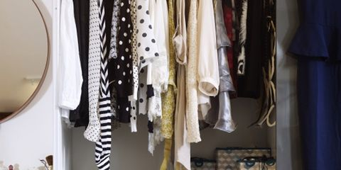 Room, Clothes hanger, Closet, Collection, Shelving, Home accessories, Shelf, Wardrobe,