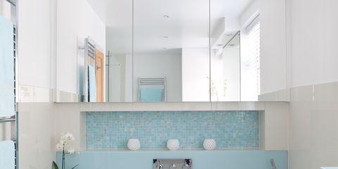 Blue, Product, Bathtub, Plumbing fixture, Property, Room, Interior design, Floor, Glass, Real estate,