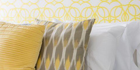 Yellow, Textile, Pillow, Cushion, Throw pillow, Linens, Orange, Grey, Bedding, Home accessories,
