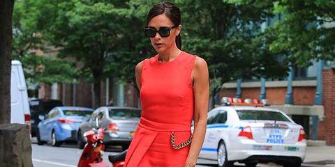 Eyewear, Vision care, Land vehicle, Sunglasses, Dress, Red, Car, Automotive tail & brake light, Fender, Street fashion,