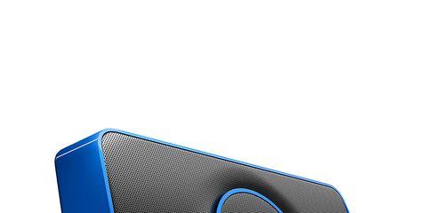 Electric blue, Azure, Loudspeaker, Cobalt blue, Circle, Symbol, Personal computer hardware, Output device, Home appliance, Plastic,