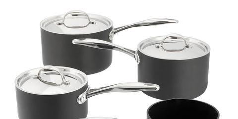 Cookware and bakeware, Metal, Cylinder, Tin, Circle, Still life photography, Sauté pan, Frying pan, Kitchen utensil, Saucepan,