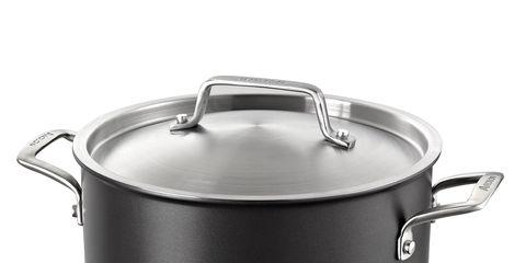 Cookware and bakeware, Lid, Metal, Crock, Stock pot, Silver, Saucepan, Tin, Kitchen appliance accessory, Steel,