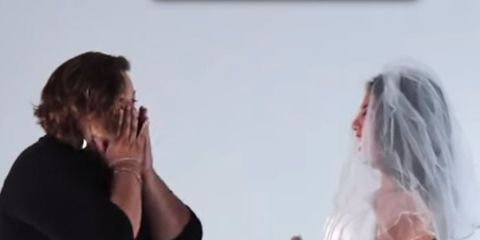 Watch Daughters Try On Their Mothers Wedding Dresses,Boat Neck Satin Wedding Dress
