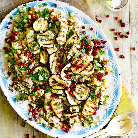 best aubergine recipes halloumi and aubergine salad