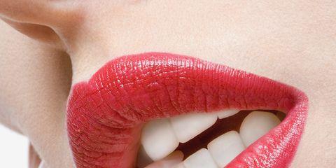 Finger, Lip, Skin, Nail, Pink, Organ, Tooth, Nail care, Magenta, Close-up,