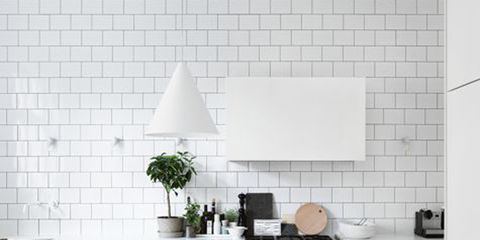 Room, White, Interior design, Floor, Wall, Table, Flooring, Tile, Grey, Lampshade,