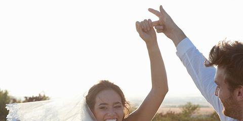 Face, Sleeve, Photograph, Happy, Elbow, Bridal clothing, People in nature, Dress, Facial expression, Rejoicing,