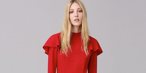 Sleeve, Shoulder, Collar, Joint, Dress, Red, Standing, Style, Fashion model, Elbow,