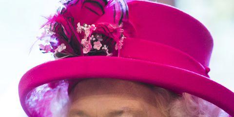 Hat, Costume hat, Pink, Fashion accessory, Costume accessory, Headgear, Magenta, Costume, Smile,