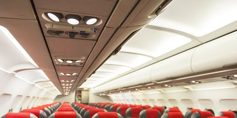 Mode of transport, Transport, Red, White, Aircraft cabin, Air travel, Comfort, Service, Public transport, Carmine,