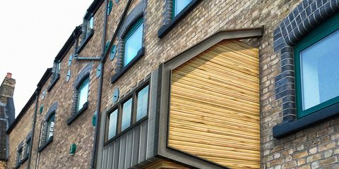 Window, Brick, Facade, Wall, Fixture, Brickwork, Stairs, Colorfulness, Material property, Rectangle,