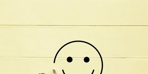 Yellow, Emoticon, Jeans, Smiley, Line, Denim, Street fashion, Circle, Icon, Gesture,