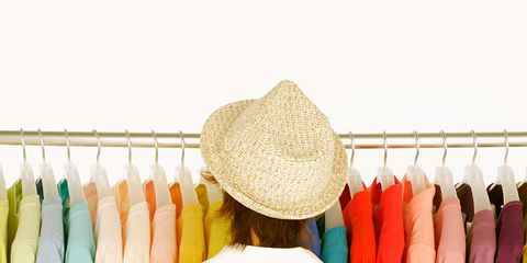 Textile, Clothes hanger, Retail, Back, Fashion design, Boutique, Fedora, Feather, Dry cleaning, Sun hat,