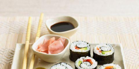 Cuisine, Food, Sushi, Dishware, Ingredient, Dish, Rice, Gimbap, Meal, Tableware,