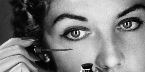Finger, Lip, Skin, Eyebrow, Eyelash, Earrings, Hand, Jewellery, Nail, Monochrome photography,