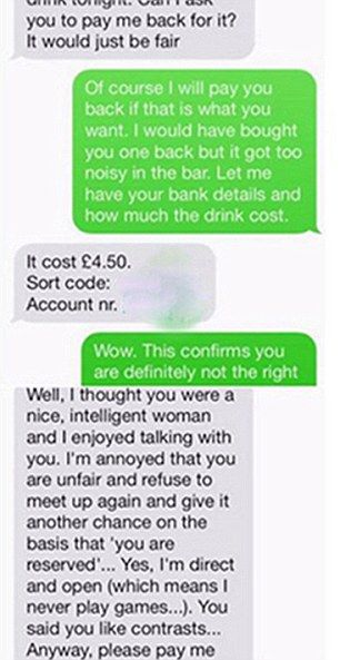 Man asks woman for money back after second date rejection