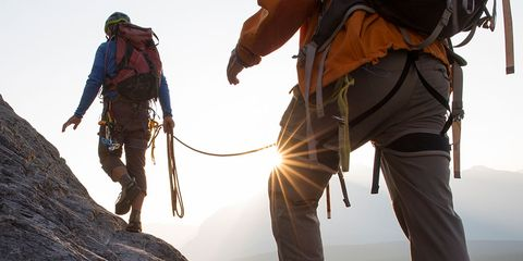 Recreation, Mountaineer, Shoe, Adventure, Rock-climbing equipment, Slope, People in nature, Outdoor recreation, Mountaineering, Rope,