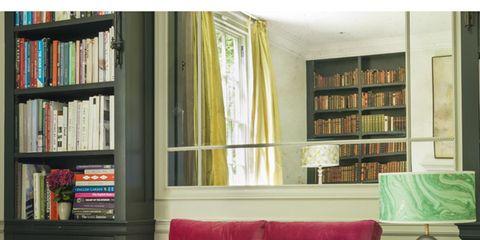 Interior design, Room, Green, Living room, Home, Shelf, Furniture, Bookcase, Wall, Shelving,