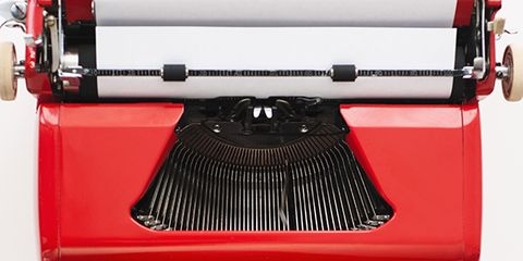 Typewriter, Finger, Product, Office equipment, Red, Office supplies, Line, Nail, Machine, Font,