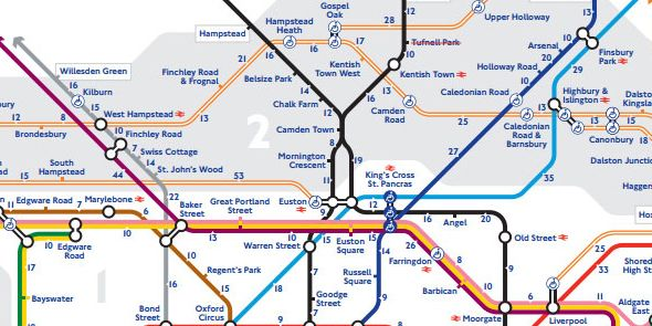 Angel London Map.Tfl Releases Walking Map Of The London Underground
