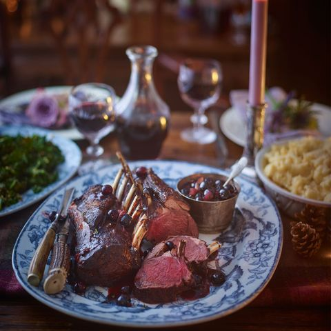 roast rack of venison with port and blueberry sauce
