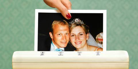 Photograph, Happy, Love, Marriage, Tie, Advertising, Ceremony, Makeover, Romance, Creative arts,