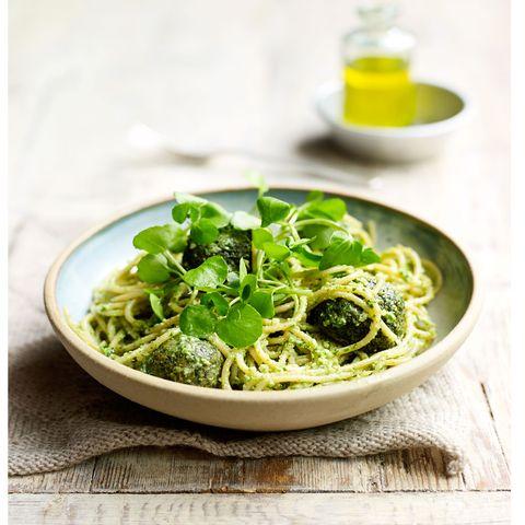 kale polpette with watercress pesto