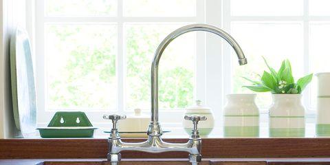 Sink, Tap, Plumbing fixture, Room, Kitchen sink, Bathroom, Interior design, Material property, Furniture, Plumbing,