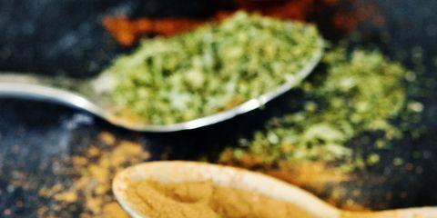 Food, Green, Ingredient, Kitchen utensil, Spoon, Condiment, Recipe, Cutlery, Spice, Leaf vegetable,