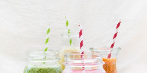 Ingredient, Juice, Drink, Liquid, Vegetable juice, Tableware, Drinkware, Drinking straw, Health shake, Magenta,