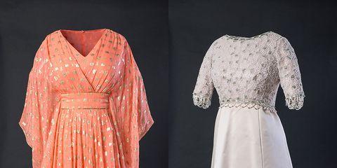 Dress, Sleeve, Textile, One-piece garment, Formal wear, Pattern, Fashion, Day dress, Peach, Gown,