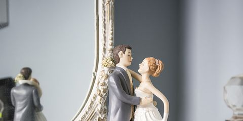 Photograph, Bridal clothing, Formal wear, Dress, Gown, Marriage, Wedding dress, Bride, Love, Toy,