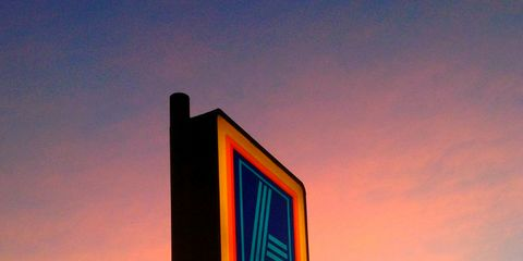 Display device, Dusk, Evening, Sunset, Sunrise, Signage, Afterglow, Red sky at morning, Sign, Advertising,