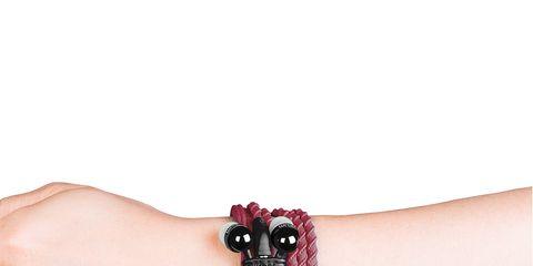 Finger, Skin, Wrist, Joint, Bracelet, Carmine, Magenta, Body jewelry, Nail, Wristband,