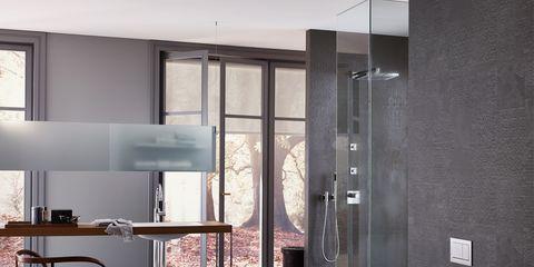 Floor, Architecture, Room, Interior design, Property, Flooring, Wall, Glass, Fixture, Plumbing fixture,