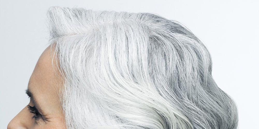 hair shiny grey