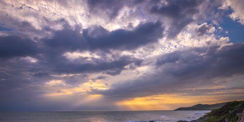Sky, Natural landscape, Cloud, Rock, Sunset, Bedrock, Coast, Wilderness, Outcrop, Formation,