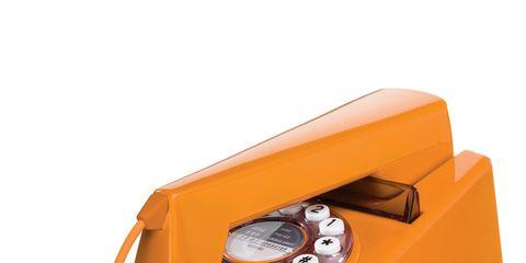 Product, Orange, Amber, Telephone, Telephony, Office equipment, Communication Device, Tan, Beige, Corded phone,