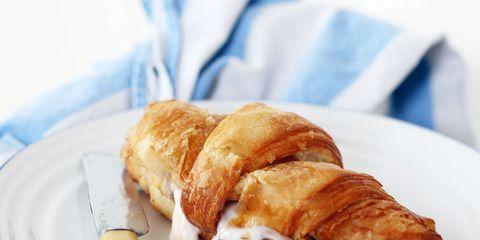 Food, Cuisine, Dishware, Baked goods, Dish, Plate, Ingredient, Croissant, Breakfast, Serveware,