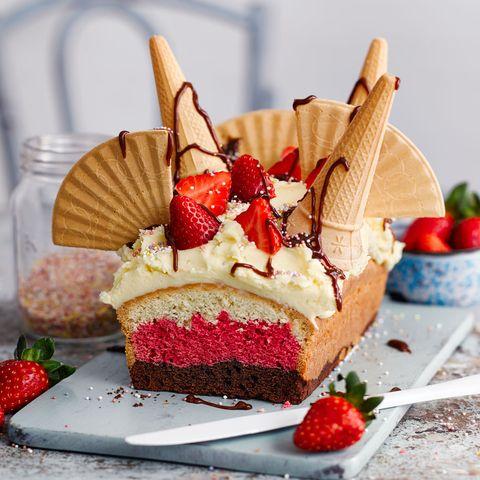 Dish, Food, Cuisine, Dessert, Frozen dessert, Cake, Torte, Baked goods, Ingredient, Strawberry,