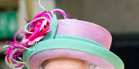 Clothing, Nose, Chin, Happy, Pink, Facial expression, Hat, Fashion accessory, Jewellery, Magenta,