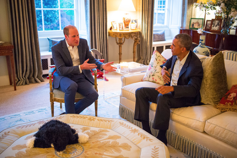 Prince George meets Barack Obama... in his dressing gown!