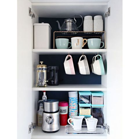 When You Stack Your Mugs Re Basically Asking For Them To Topple Over And Break Add Hooks The Bottom Of A Cupboard Shelf Make It Easier Grab