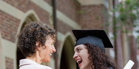 Smile, Academic dress, Sleeve, Mortarboard, Scholar, Graduation, Happy, Facial expression, Interaction, Headgear,
