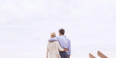 Wood, Standing, People in nature, Interaction, People on beach, Boardwalk, Love, Walkway, Dock, Romance,