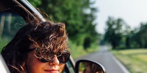 Eyewear, Glasses, Sunglasses, Shoulder, Summer, Cool, Fun, Automotive mirror, Joint, Vehicle door,