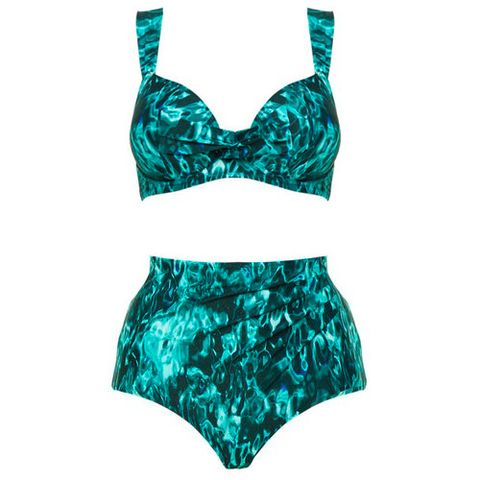33e16175bda36 Loose yourself in the water with this sea print inspired bikini. The top's  thick straps provide support, while the high waisted brief offers coverage  and a ...
