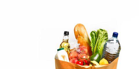 Produce, Bottle, Vegetable, Food group, Home accessories, Basket, Natural foods, Present, Plastic bag, Storage basket,
